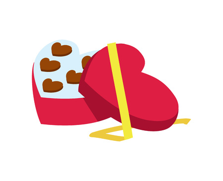 Valentine day icon with candy box in heart shape