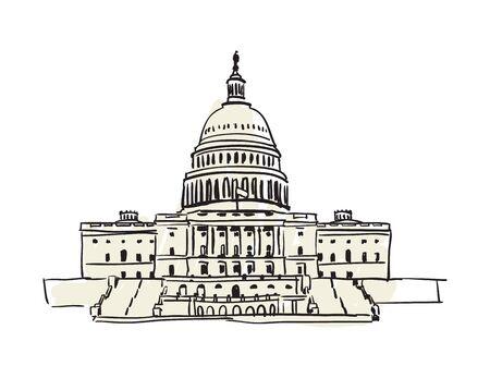 USA Capitol building in Washington hand drawn icon Illustration