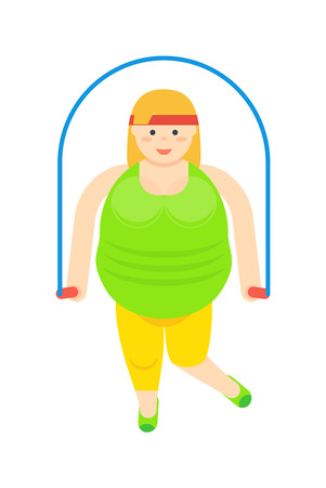 Fat woman with jumping rope icon