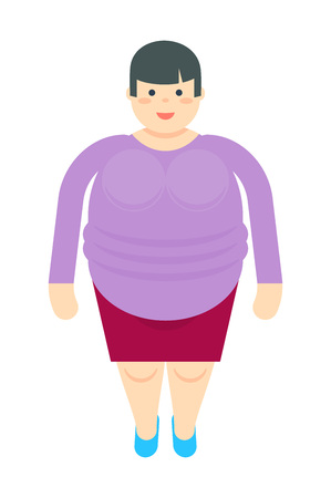 fatso: Fat woman in dress icon Illustration