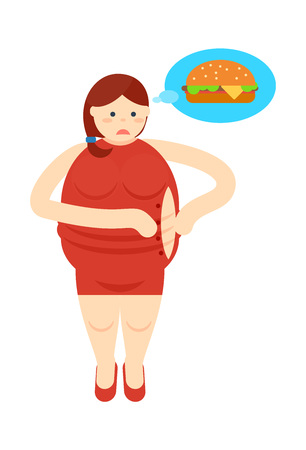 Fat woman thinking about burger icon Illustration