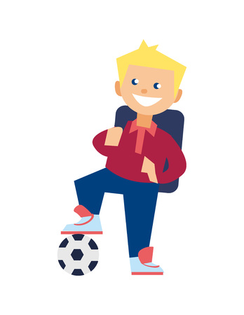 Smiling school boy with soccer ball vector icon