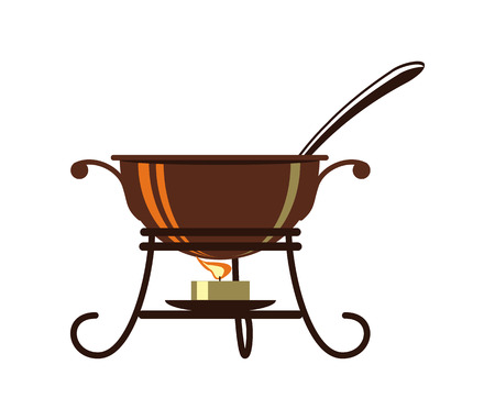 heated: Cauldron for mulled wine heated over open isolated vector icon