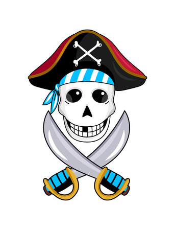 Pirate sign with skull and crossed swords icon. Children drawing of pirate concept vector illustration isolated on white background.