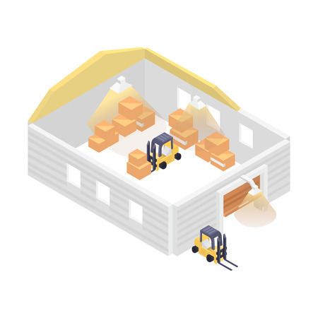 invoices: Isometric warehouse building with forklift icon. Local shipping service vector illustration isolated on white background.