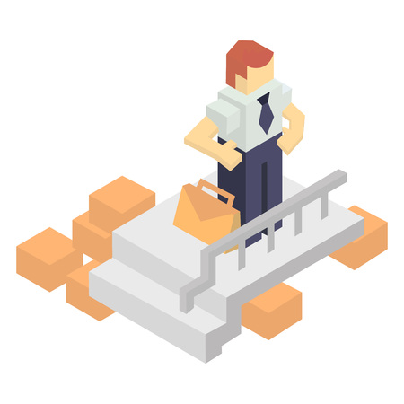 invoices: Warehouse manager with delivery boxes isometric icon. Local shipping service vector illustration isolated on white background.