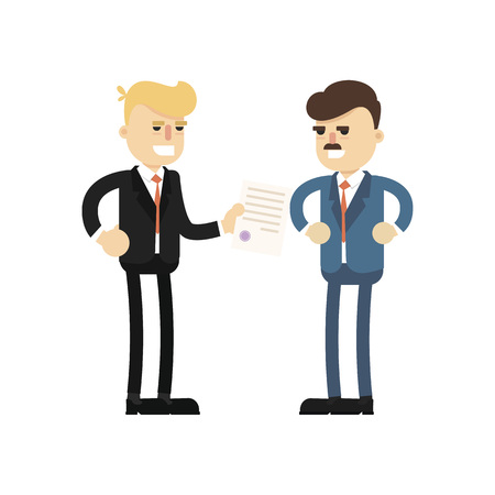 business team: Business meeting concept with smiling businessmen icon. Business teamwork and project realization vector illustration in flat design. Illustration