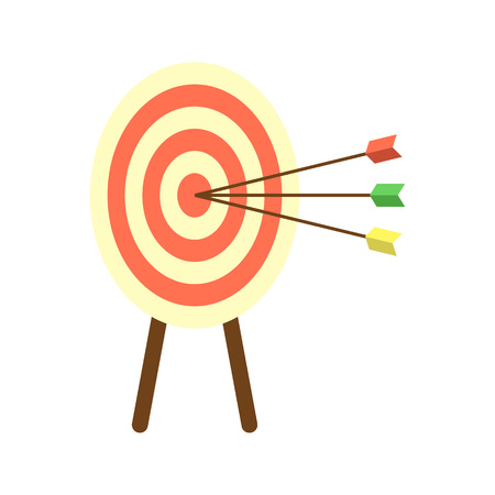 Archery target with arrows icon. Creative business concept vector illustration in flat design. Illustration