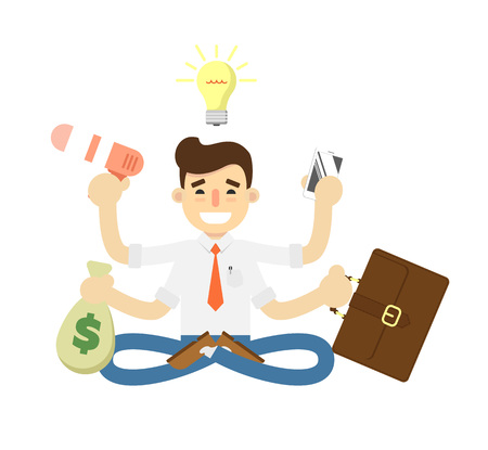 Businessman with many hands icon. Idea generation and business realization vector illustration in flat design.