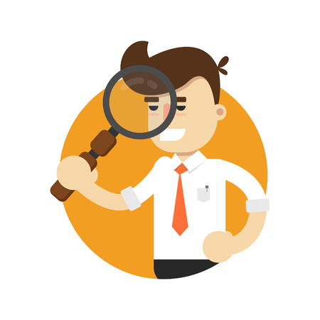 Businessman with magnifier isolated icon. Business project and realization vector illustration in flat design. Illustration