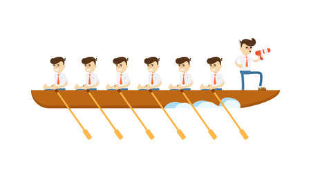 Teamwork concept with businessmen in boat icon. Business project and realization vector illustration in flat design. Illustration