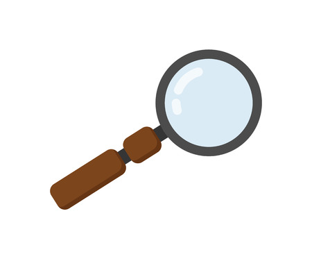 Magnifying glass icon in flat design