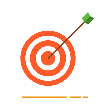Archery target with arrow icon. Creative business concept vector illustration in flat design. Illustration