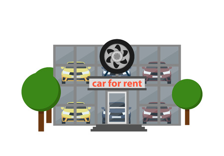Rental business icon with car showroom Stock fotó - 84077181