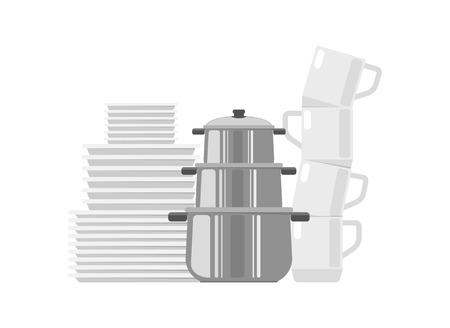 Set van gerechten pictogram. Borden, kopjes en pannen. Koken en keuken vectorillustratie in platte ontwerp.