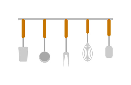 Set of dishes icon. Fork, ladle, corolla and spoon. Cooking and kitchen vector illustration in flat design. Illustration