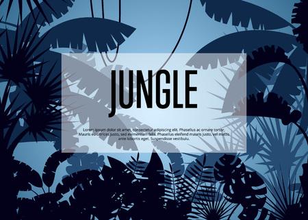 Deep tropical jungle vector background