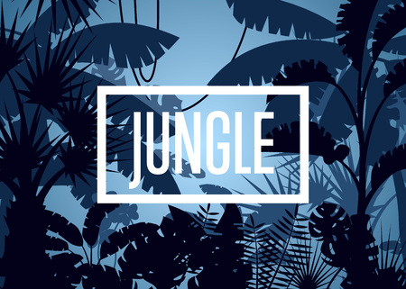 Deep tropical jungle with palm leaves and trees Illustration