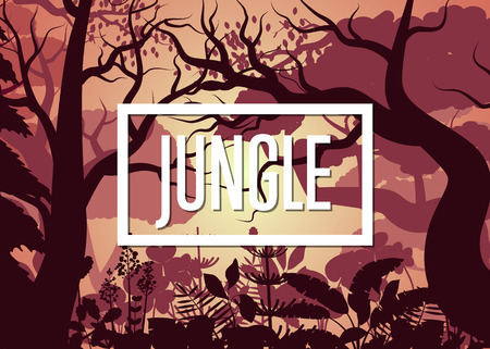 Morning tropical jungle with trees and bush Illustration