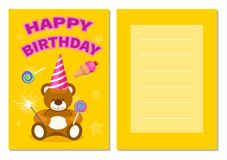 kids birthday party: Happy birthday kids postcard set Illustration