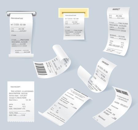 Paper print check vector elements set Illustration