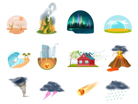 Natural disasters icons. Tornado, forest fire, earthquake, volcanic eruption, tsunami, thunder with lightning, drought desert, meteorite signs. Dangerous weather, extreme climate vector illustration