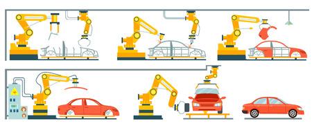 スマートな自動車組立ライン ロボット工場。モダンなエンジニア リング システム、自動車の生産ライン、製造プロセスの車。車の組立用コンベア   イラスト・ベクター素材