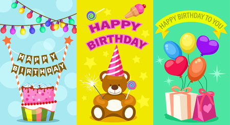 kids birthday party: Happy birthday kids postcard set. Holiday congratulation, greeting cards with birthday cake, teddy bear toy, garland and air balloons. Children party invitation, event celebration vector illustration