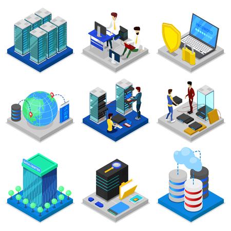 Data center isometric 3D setstaff vector illustration.