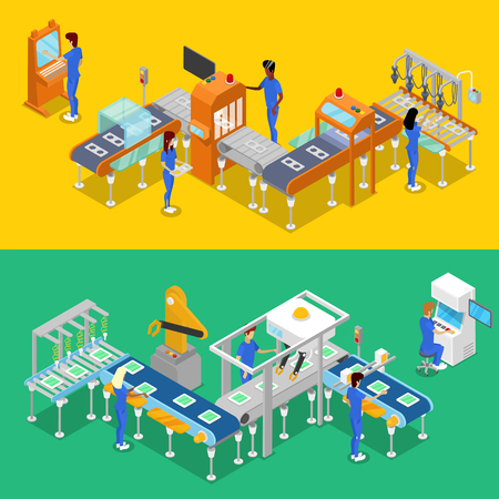 Isometric 3D production line concept set. Industrial goods production, mechanical conveyor with workers, manufacturing process. Factory equipment, smart robotic assembly line vector illustration. Vectores