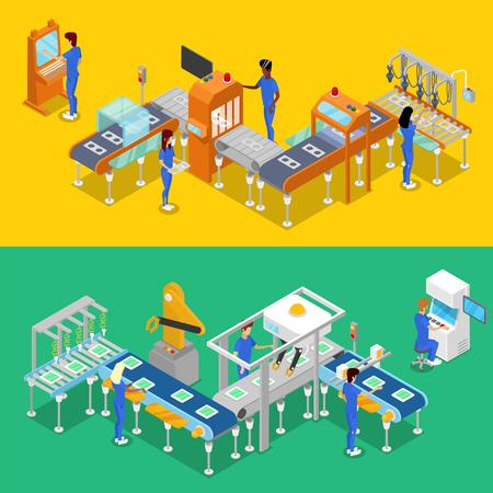 Isometrische 3D productielijn concept ingesteld. Industriële goederenproductie, mechanische transportband met arbeiders, productieproces. Fabrieksmateriaal, slimme robotachtige lopende band vectorillustratie.