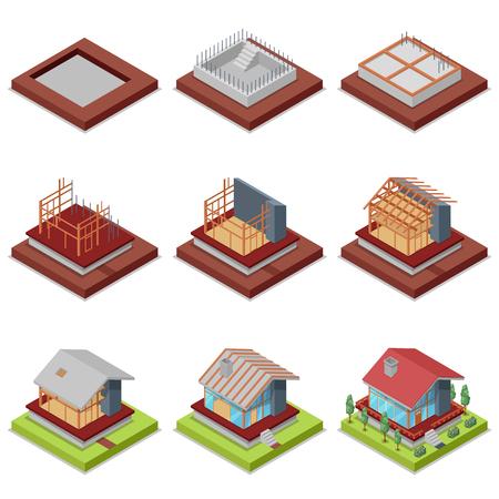 等尺性の 3 D 設定の田舎の家の建設段階
