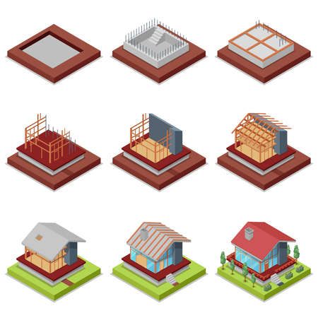 Isometric 3D set construction stages of countryside house