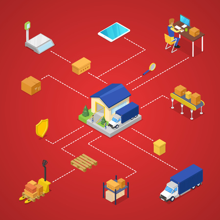 Commercial shipping and delivery infographics Illustration