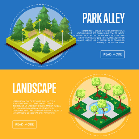 Park design isometric posters. Field with green grass and trees, pool with water, park alleys, path, and benches. Public parkland zone with decorative plants, natural recreation vector illustration.