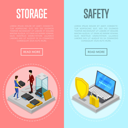 Data cloud storage safety isometric posters