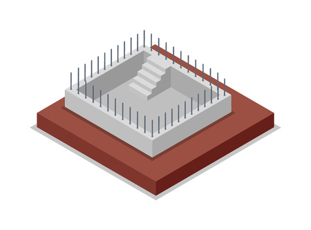 Bau der isometrischen 3D Ikone der Wände. Baustufen des Landschaftshauses, niedriges Polymodell der ländlichen Immobiliengebäudevektorillustration. Standard-Bild - 87757480