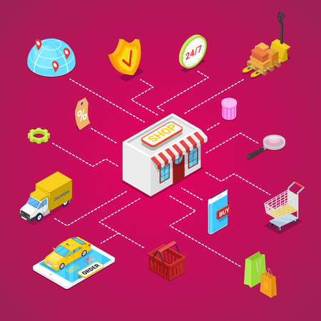 Online shopping and e-payment isometric 3D infographics. E-shopping concept with shopping bag, credit card, goods, products, delivery truck. Retail marketing, fast home delivery vector illustration. Illustration