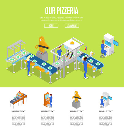Assembly line isometric 3D poster. Illustration