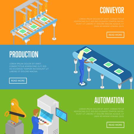 스마트 로봇 조립 라인 아이소 메트릭 3D 포스터.