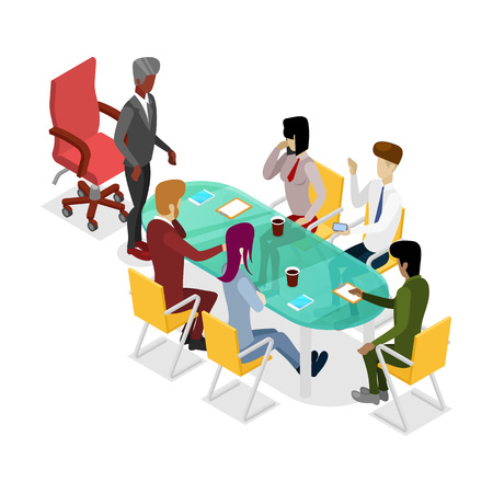 Business meeting isometric 3D icon.