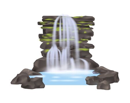 River waterfall isolated vector icon Illustration