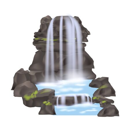 Mountain waterfall isolated vector icon