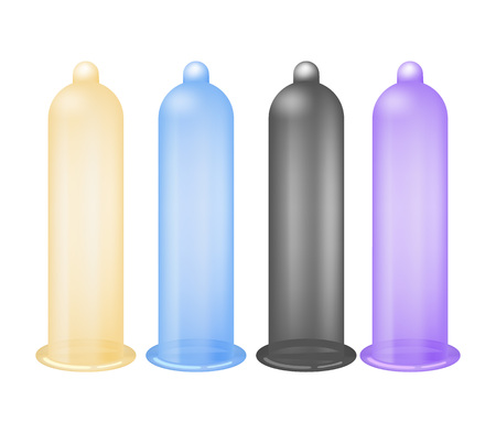 Colorful latex condoms isolated vector icon Ilustracja
