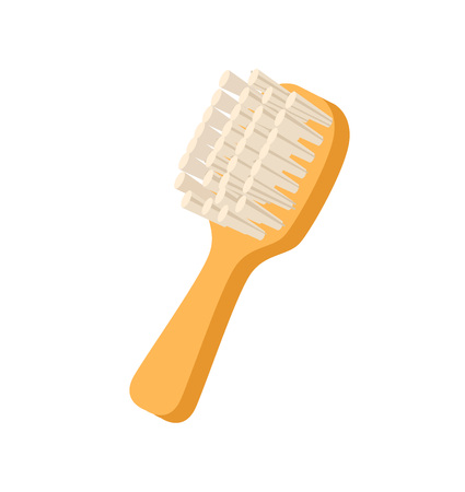 Grooming brush for pets icon. Pet store element, vet care accessory isolated vector illustration in flat style.