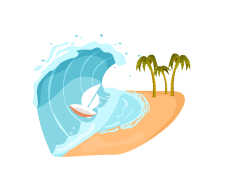 Ocean tsunami isolated vector icon