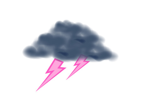 Thunder with lightning isolated vector icon