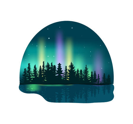 Northern lights over deep forest isolated icon. Colorful aurora borealis vector illustration in cartoon style. Иллюстрация