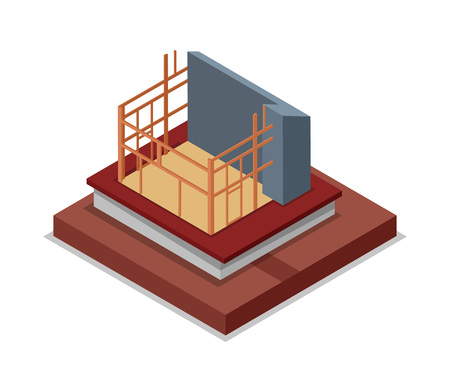 Construction structure of house isometric 3D icon.