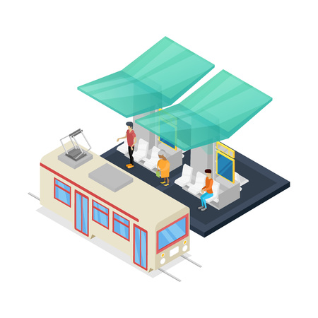 Streetcar stop isometric 3D icon Illustration